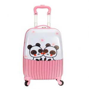 Valise enfant cabine rose snowball panda