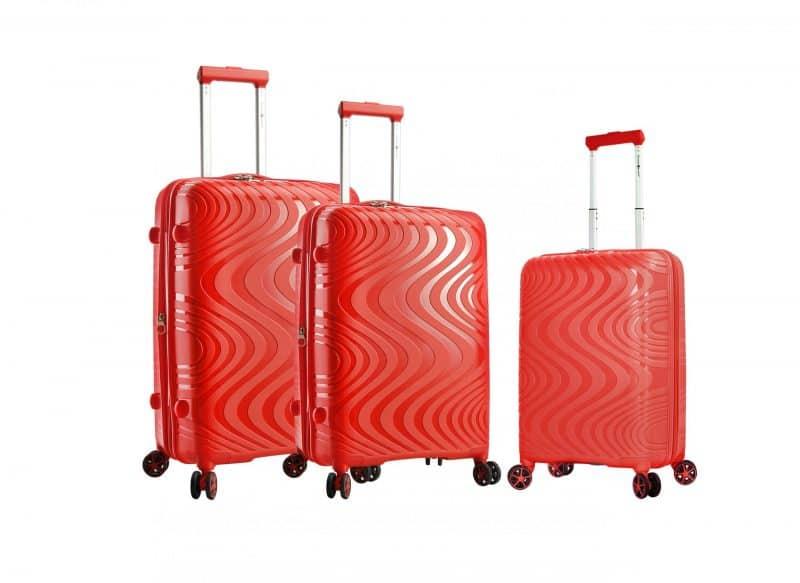 ensemble de 3 valises rigides rouge 04303