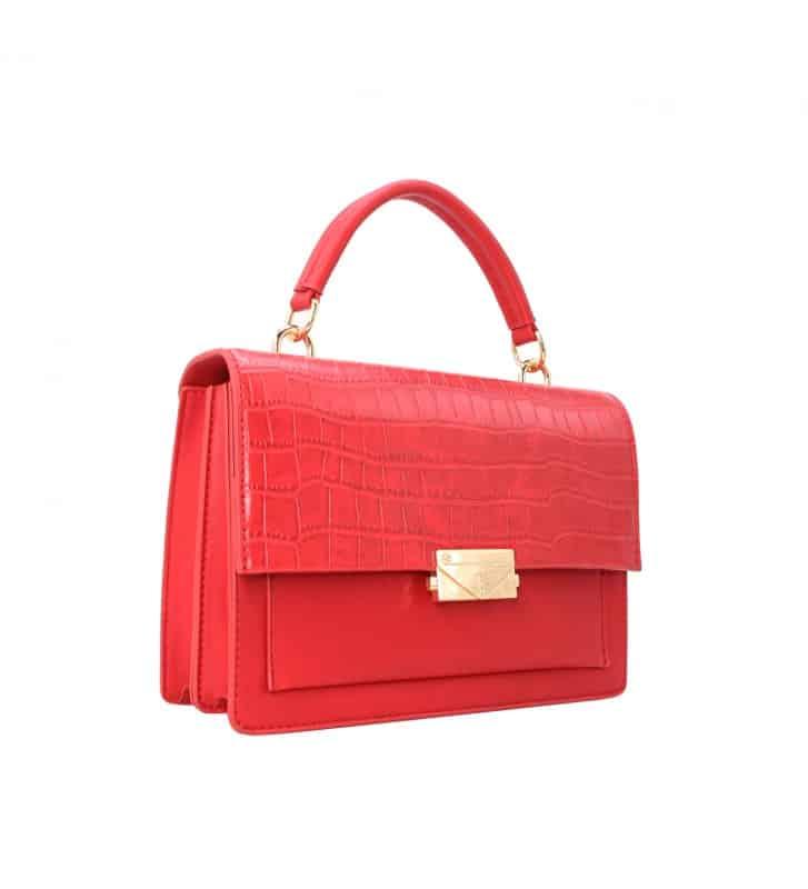 petit sac à main bi matière rouge