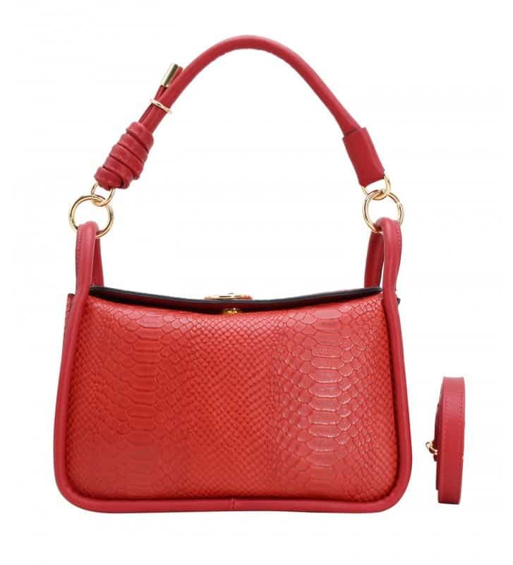 petit sac porté épaule rouge effet python