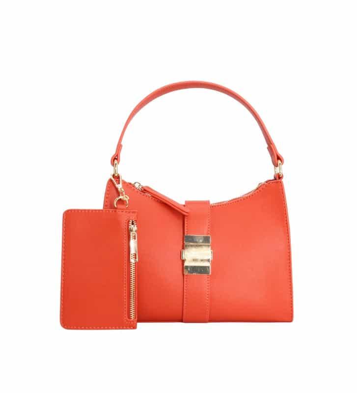 sac épaule orange et sa pochette