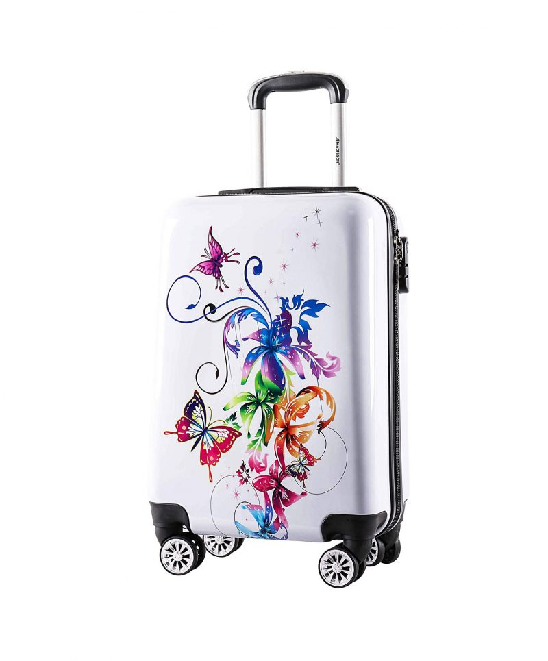valise cabine 4 roues blanc madisson papillons