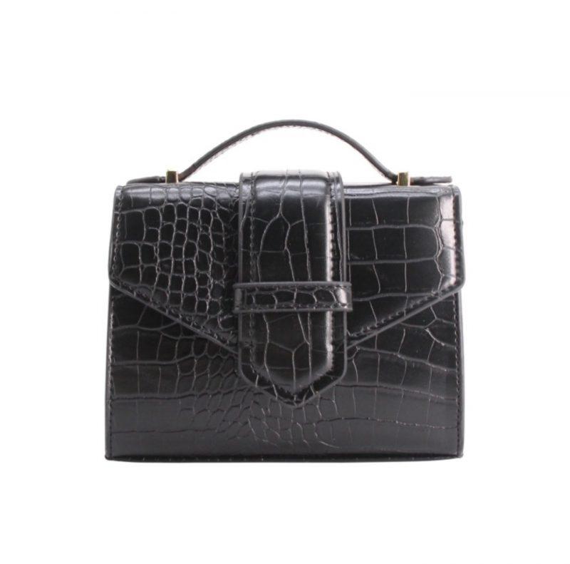 petit sac à main effet croco noir tendance