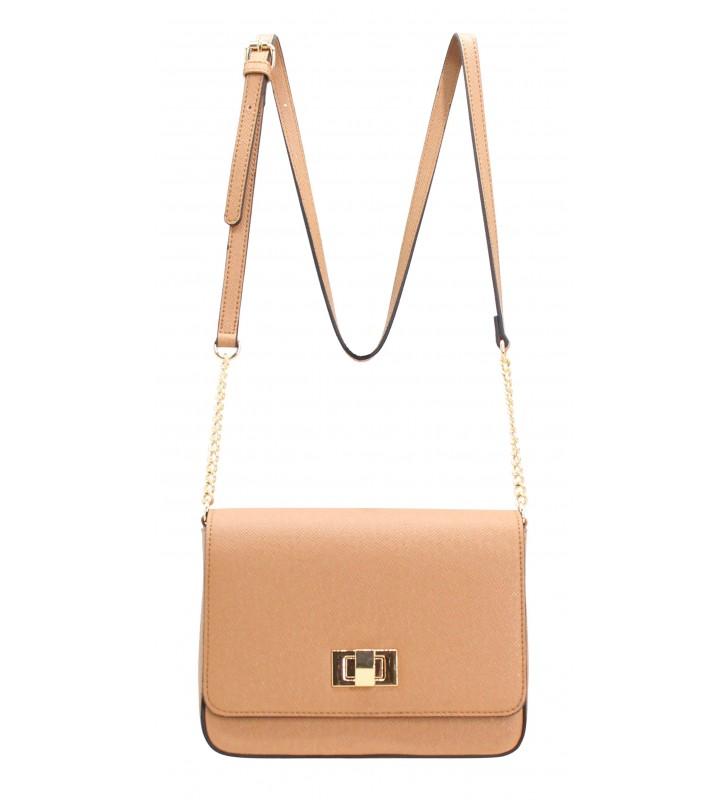 petit sac à main femme effet strié et chainettes camel