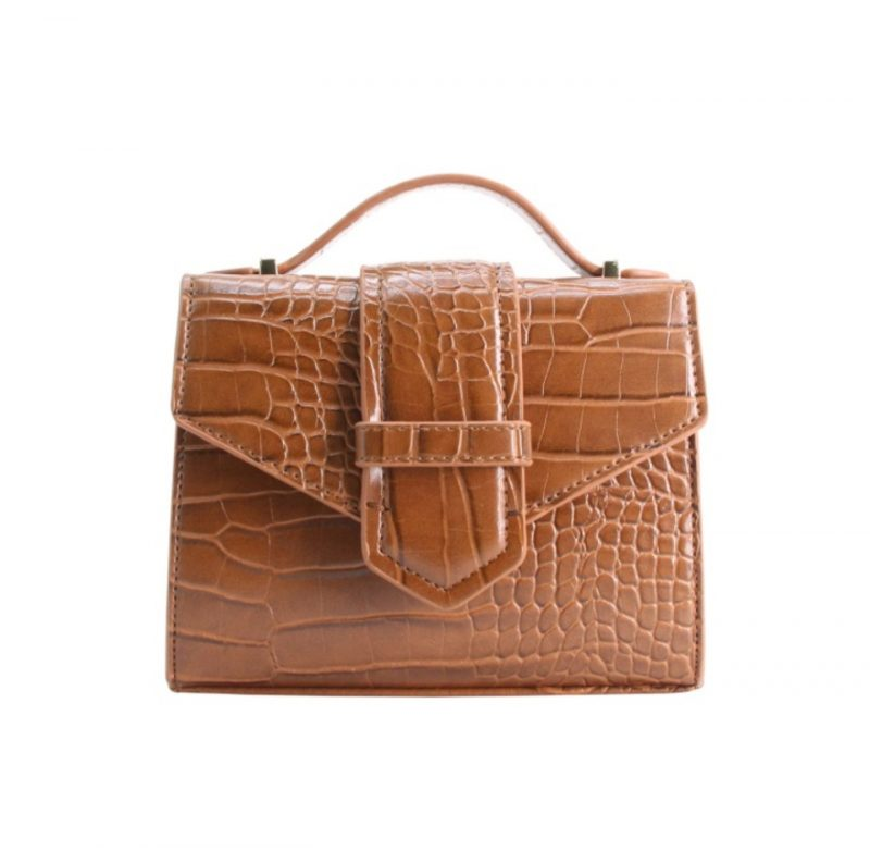 petit sac à main effet croco marron tendance