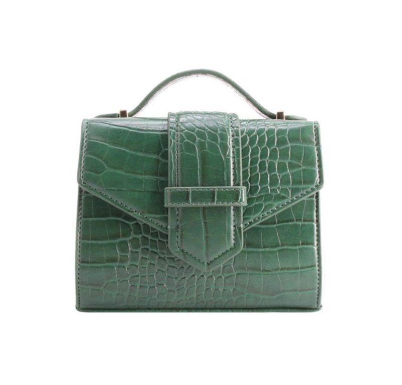 petit sac à main effet croco vert tendance