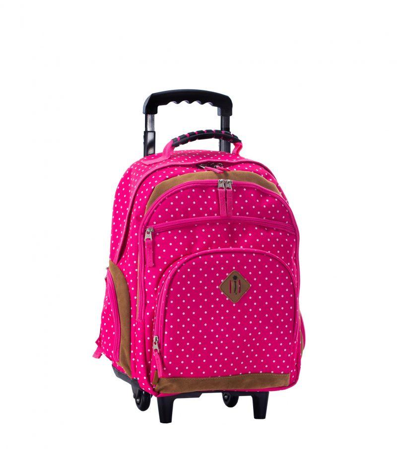sac à dos à roulettes rose à pois cm1 cm2