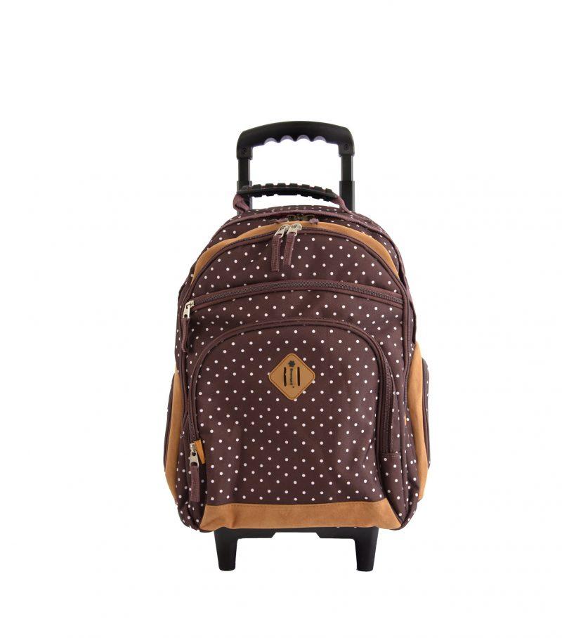 sac à dos à roulettes cm1 cm2 marron pas cher