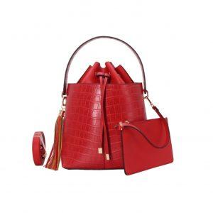 sac à main seau effet croco rouge
