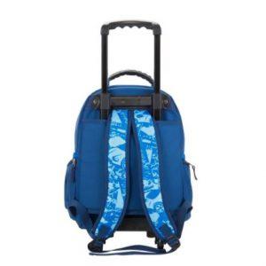 sac à dos cartable à roulettes bleu