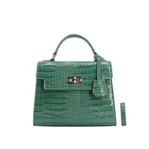 Petit sac vernis effet croco – Jade