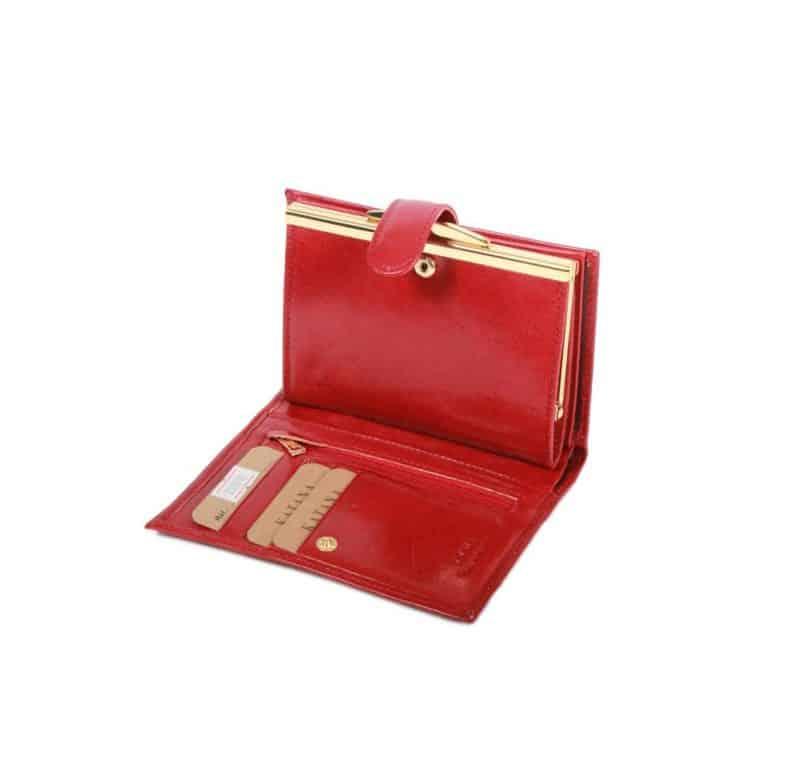 portefeuille porte monnaie en cuir rouge