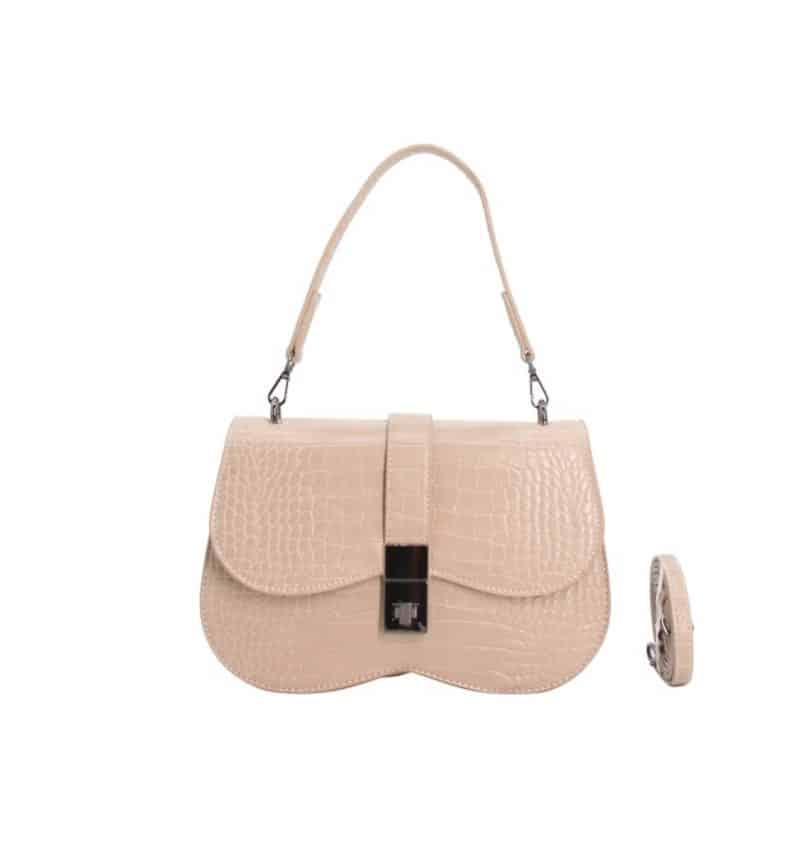 sac porté épaule effet croco nina beige