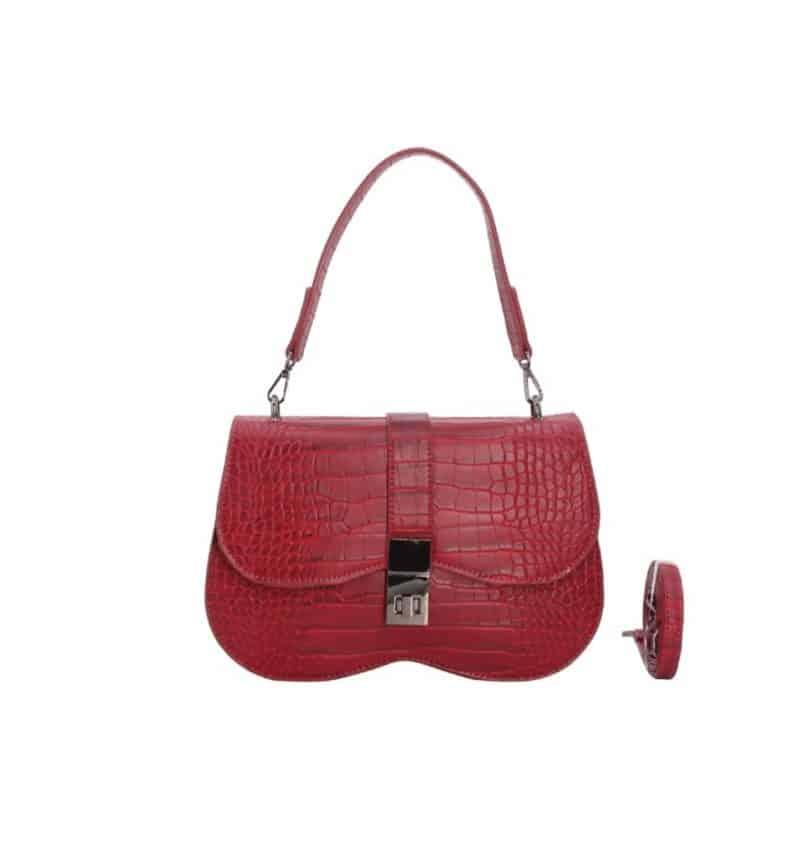 sac porté épaule effet croco nina rouge