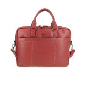 sacoche porte ordinateur portable en cuir rouge